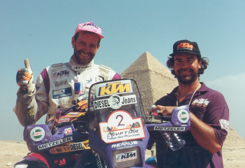 Winning the '94 Pharaoh's Rally with mechanic Fernando. Living the Adventure