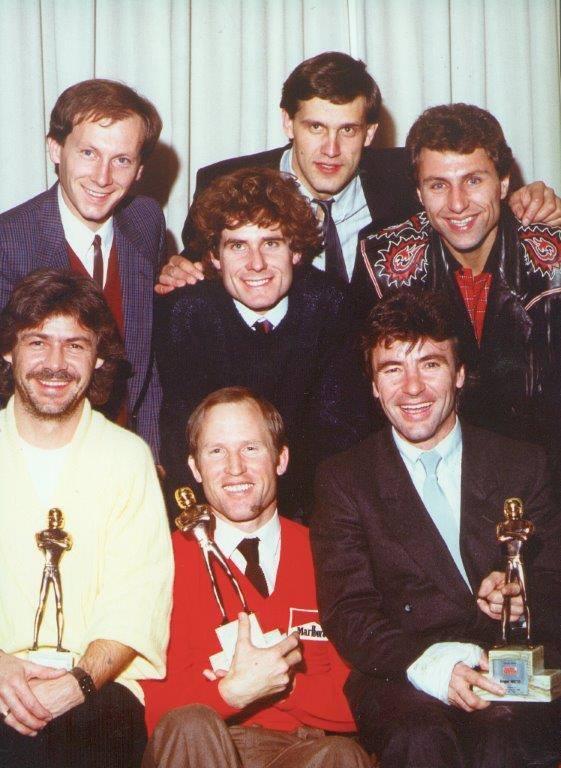 World Champions 1984: Michele Rinaldi, Stefan Dörflinger, Christian Sarron, Kenny Roberts senior, Ángel Nieto & André Malherbe