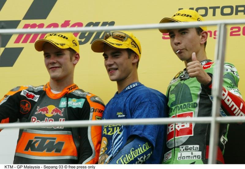 Mika Kallio, Dani Pedrosa & Jorge Lorenzo Sepang (MAL) 2003