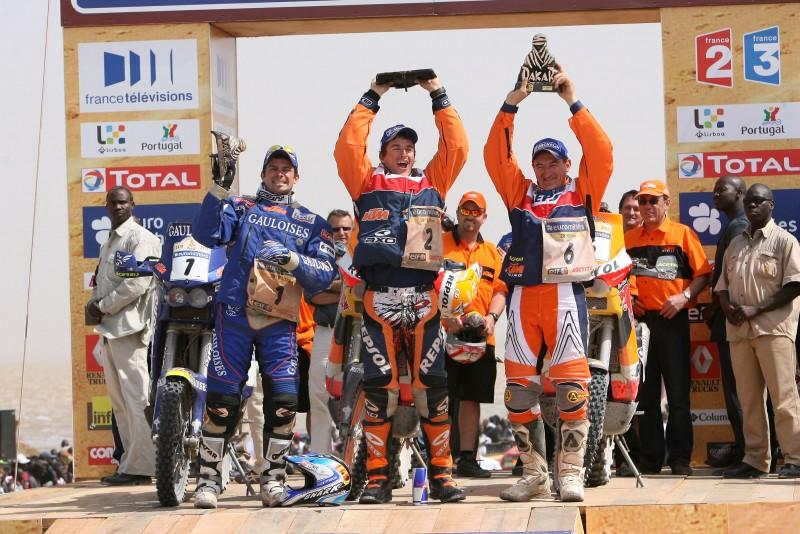 Cyril Despres (FRA), Marc Coma (ESP) & Giovanni Sala (ITA) podium Dakar 2006