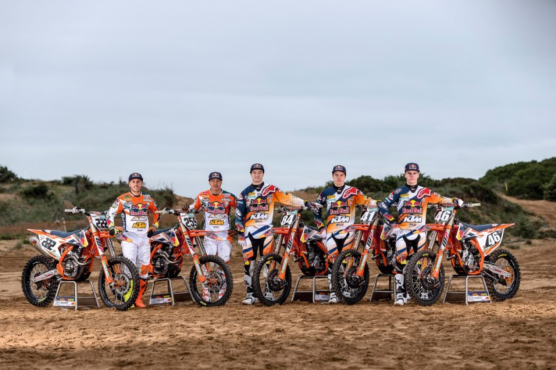 Red Bull KTM Motocross Factory Racing Team 2016: Tony Cairoli, Glenn Coldenhoff, Jeffrey Herlings, Pauls Jonass & Davy Pootjes