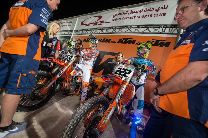 Glenn Coldenhoff (#259, NED) & Tony Cairoli (#222, ITA) KTM 450 SX-F Katar 2016
