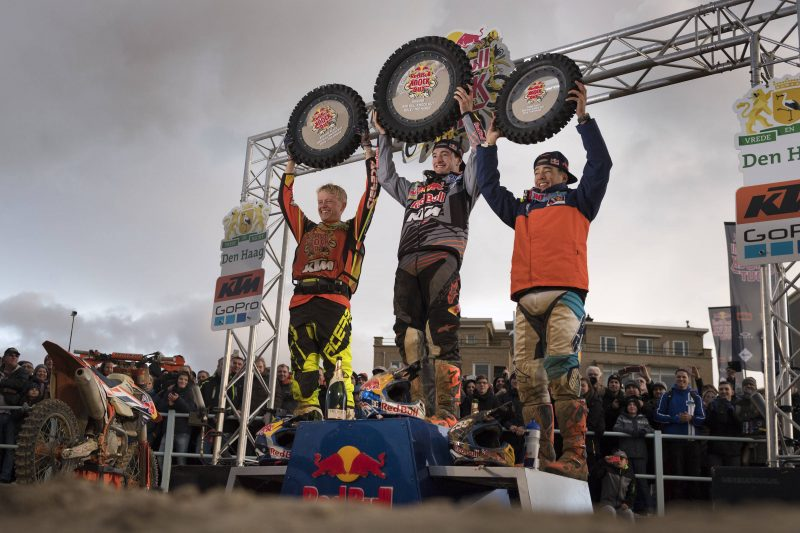 Nathan Watson (GBR), Jeffrey Herlings (NED) & Glenn Coldenhoff (NED) Podium Red Bull Knock Out (NED) 2016