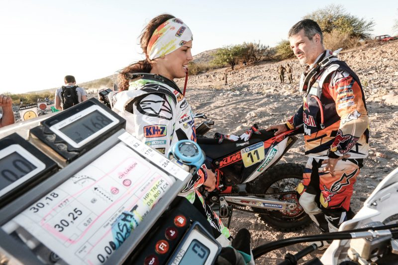 Laia Sanz (ESP) & Jordi Viladoms (ESP) KTM 450 RALLY Dakar 2016
