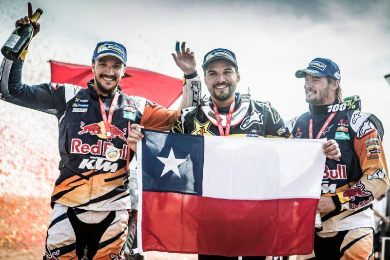 Sam Sunderland (GBR), Pablo Quintanilla (CHI) & Toby Price (AUS) OiLibya Rally (MAR) 2016