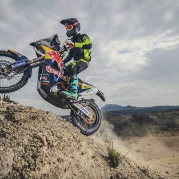 Riding the Dakar-tested KTM 450 RALLY
