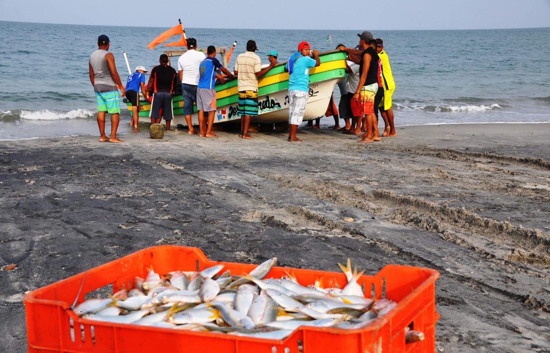 Alle helfen mit, wenn das Fischerboot ins Wasser muss | Everyone helps launch the fishing boat into the water