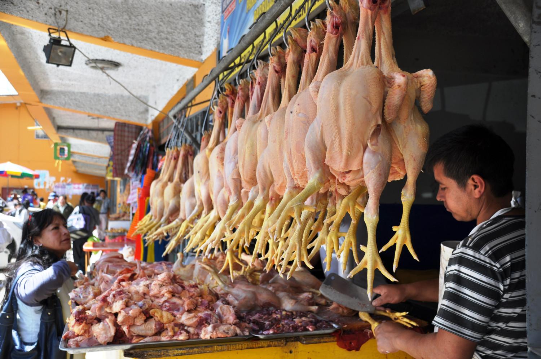 Markt in Jaén: die peruanische Küche liebt Hühnerfleisch | Market in Jaén: Peruvian cuisine favors chicken