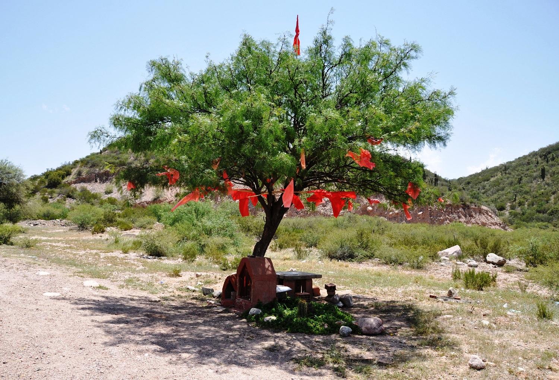 Am Straßenrand: Heiligenschreine und mit roten Fahnen geschmückte Bäume | At the side of the road: a shrine and trees decorated with red flags