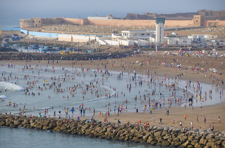 Gut besucht: der Stadtstrand von Rabat | Plenty of visitors: Rabat's beach